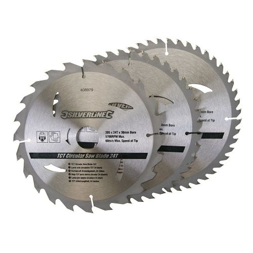 3 Pack Silverline 408979 TCT Circular Saw Blades 24, 40, 48 Teeth 205mm x 30mm